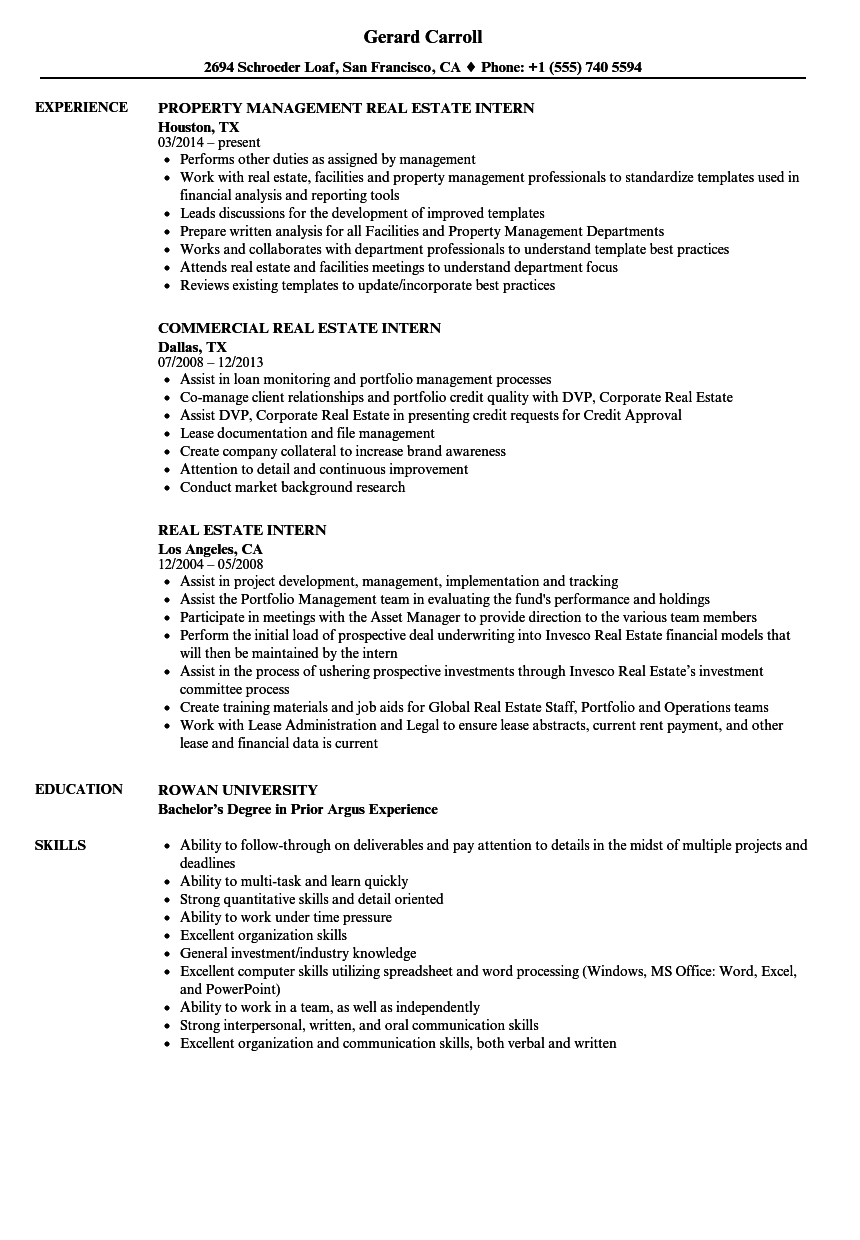 Download Real Estate Intern Resume Sample As Image File