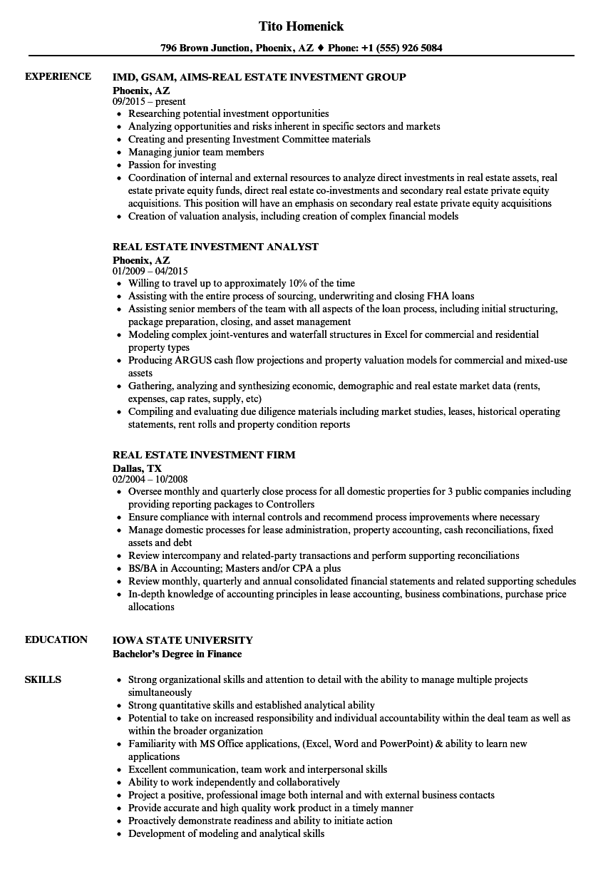 Real Estate Investment Resume Samples | Velvet Jobs