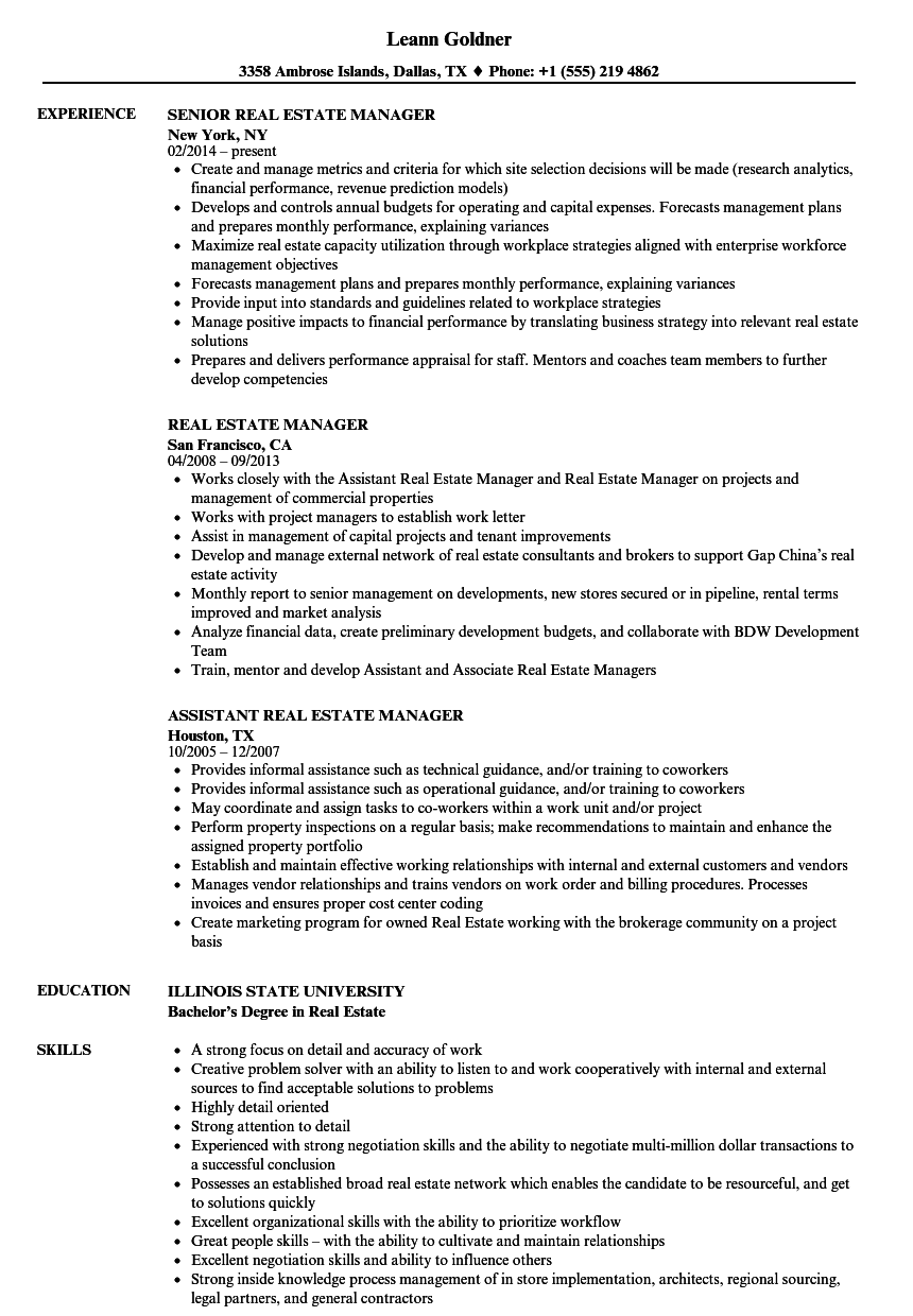 download real estate manager resume sample as image file - Real Estate Manager Resume