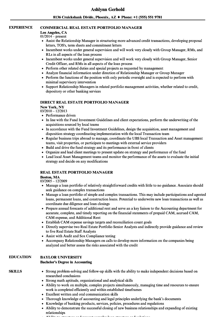 download real estate portfolio manager resume sample as image file - Real Estate Manager Resume
