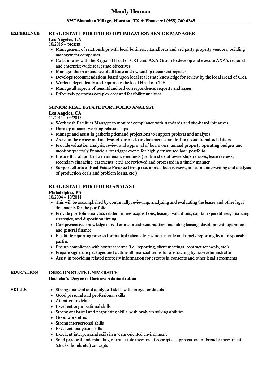 Real Estate Portfolio Resume Samples | Velvet Jobs