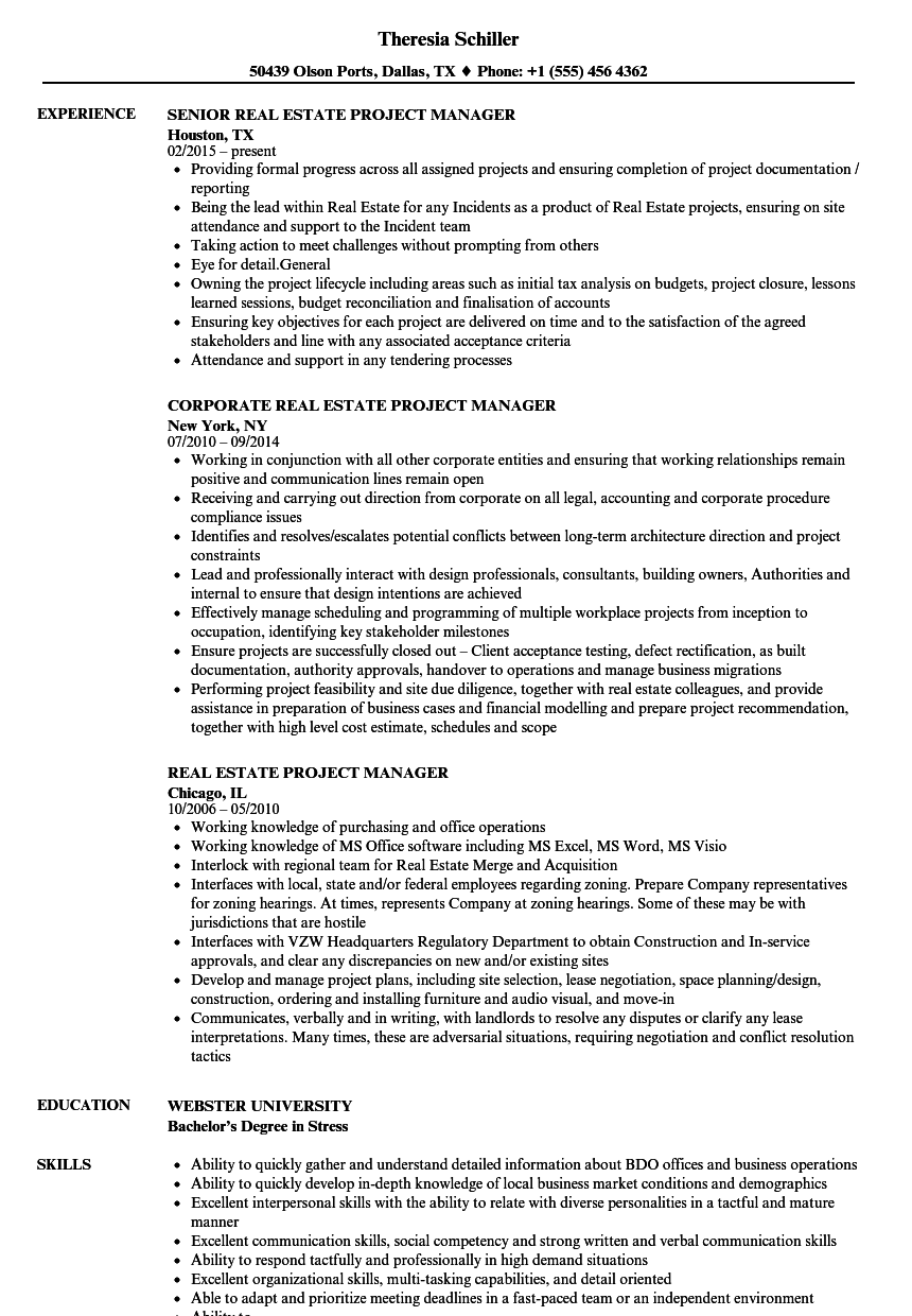 Real Estate Project Manager Resume Samples | Velvet Jobs
