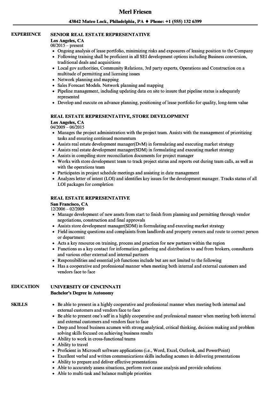 real estate representative resume samples