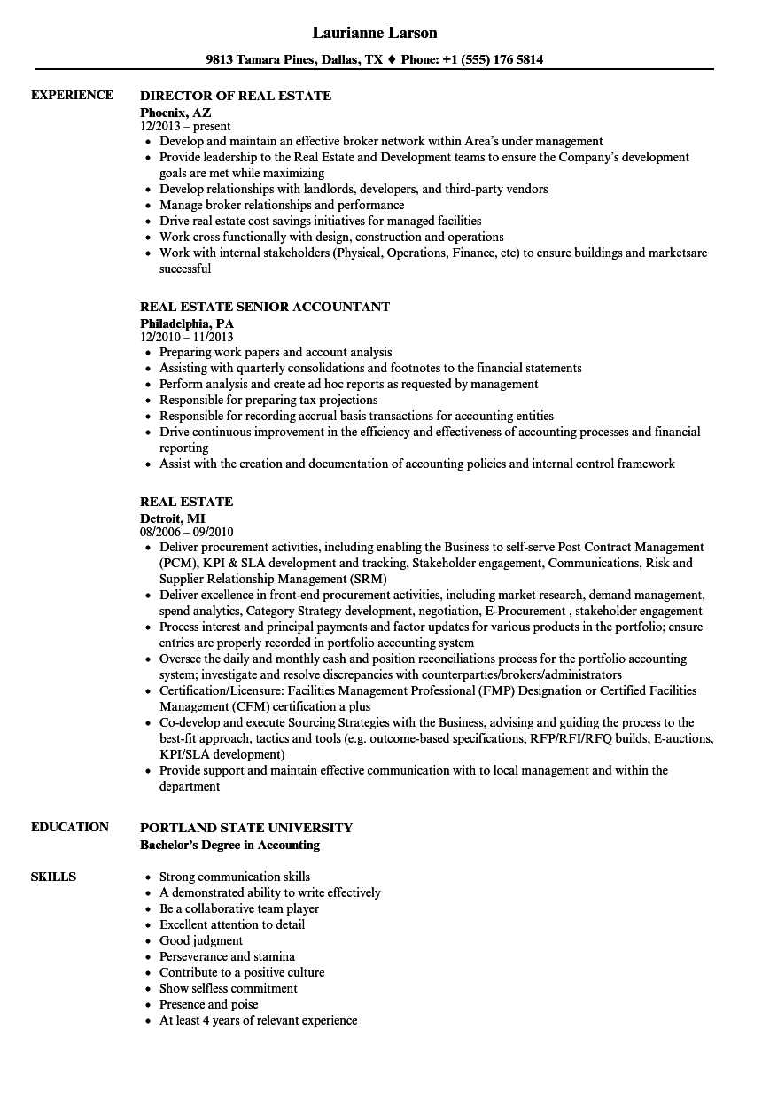 Velvet Jobs  Real Estate Resume Sample