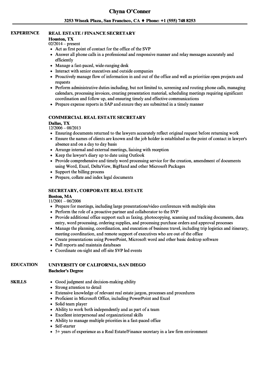 Real Estate Secretary Resume Samples | Velvet Jobs