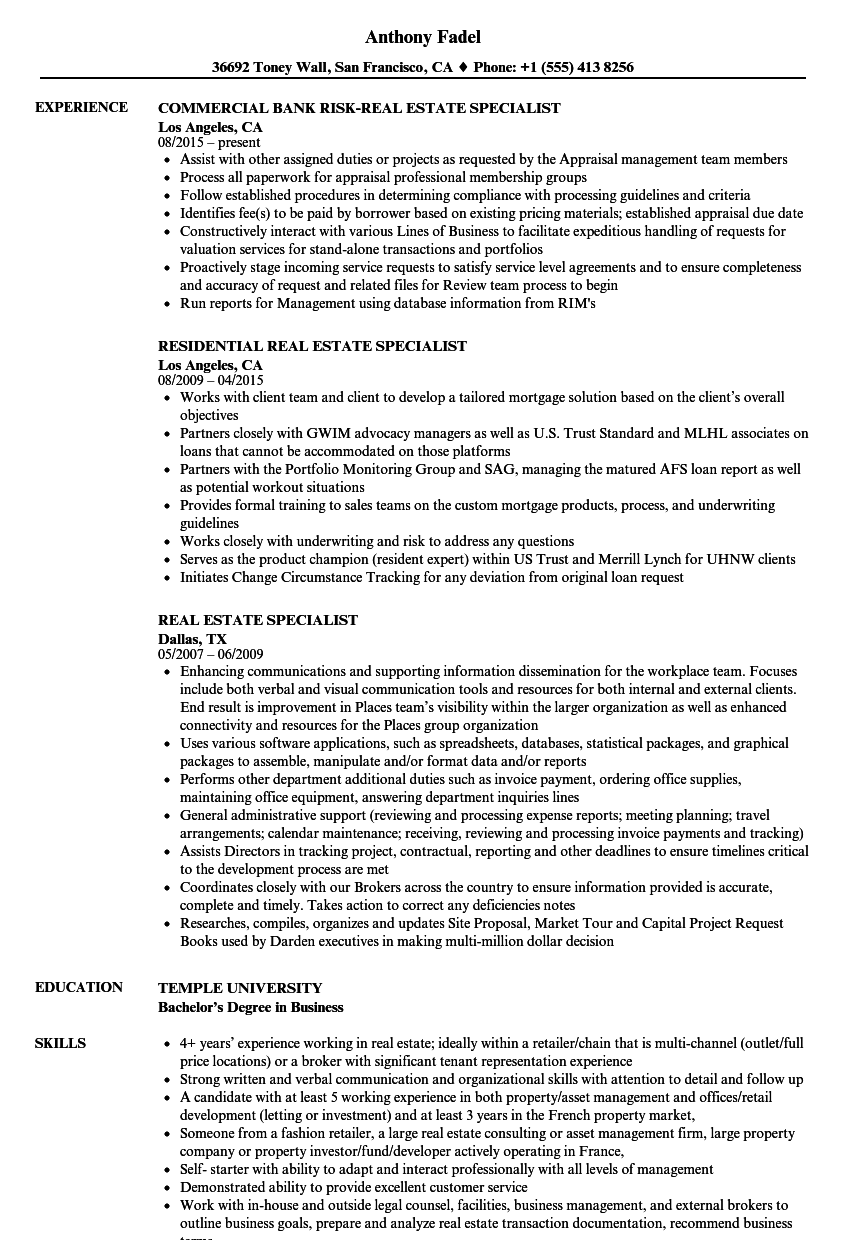 Real Estate Specialist Resume Samples   Velvet Jobs