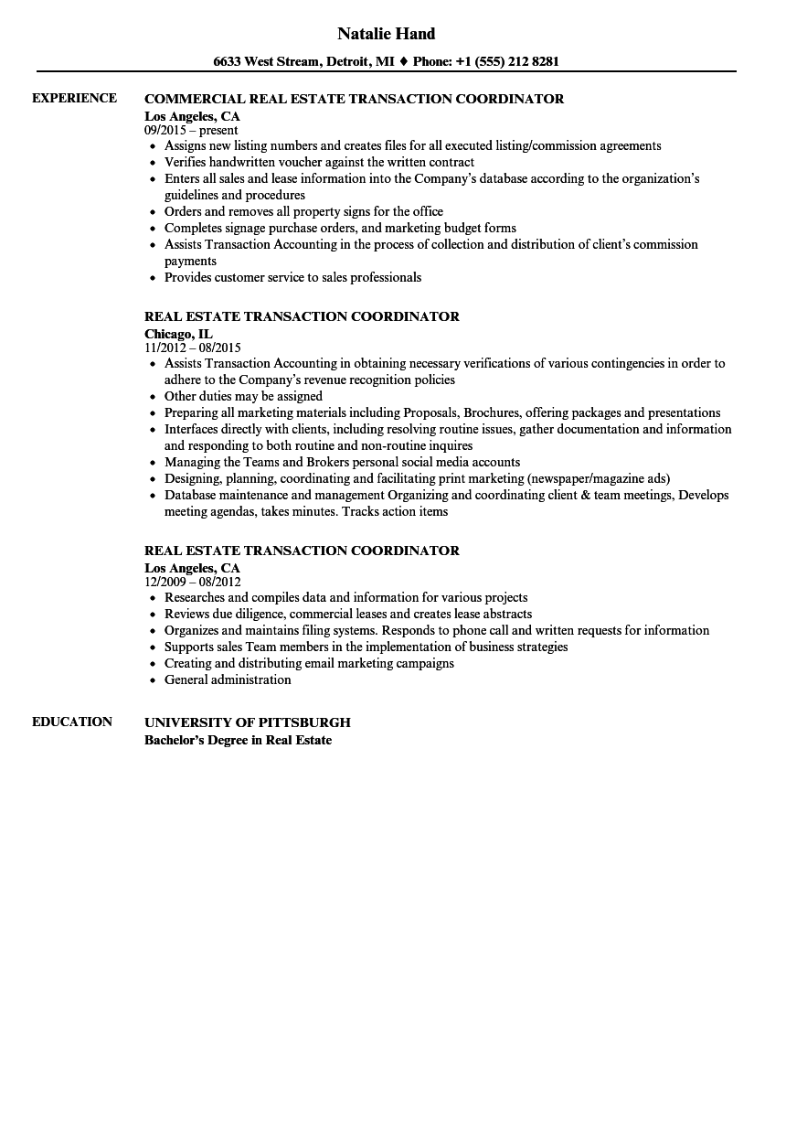 Real Estate Transaction Coordinator Resume Samples Velvet Jobs