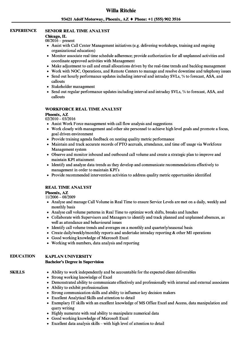Real time analyst resume