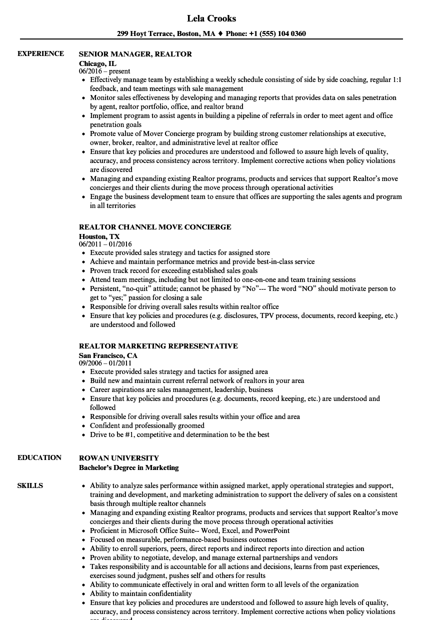 Realtor Resume Samples | Velvet Jobs