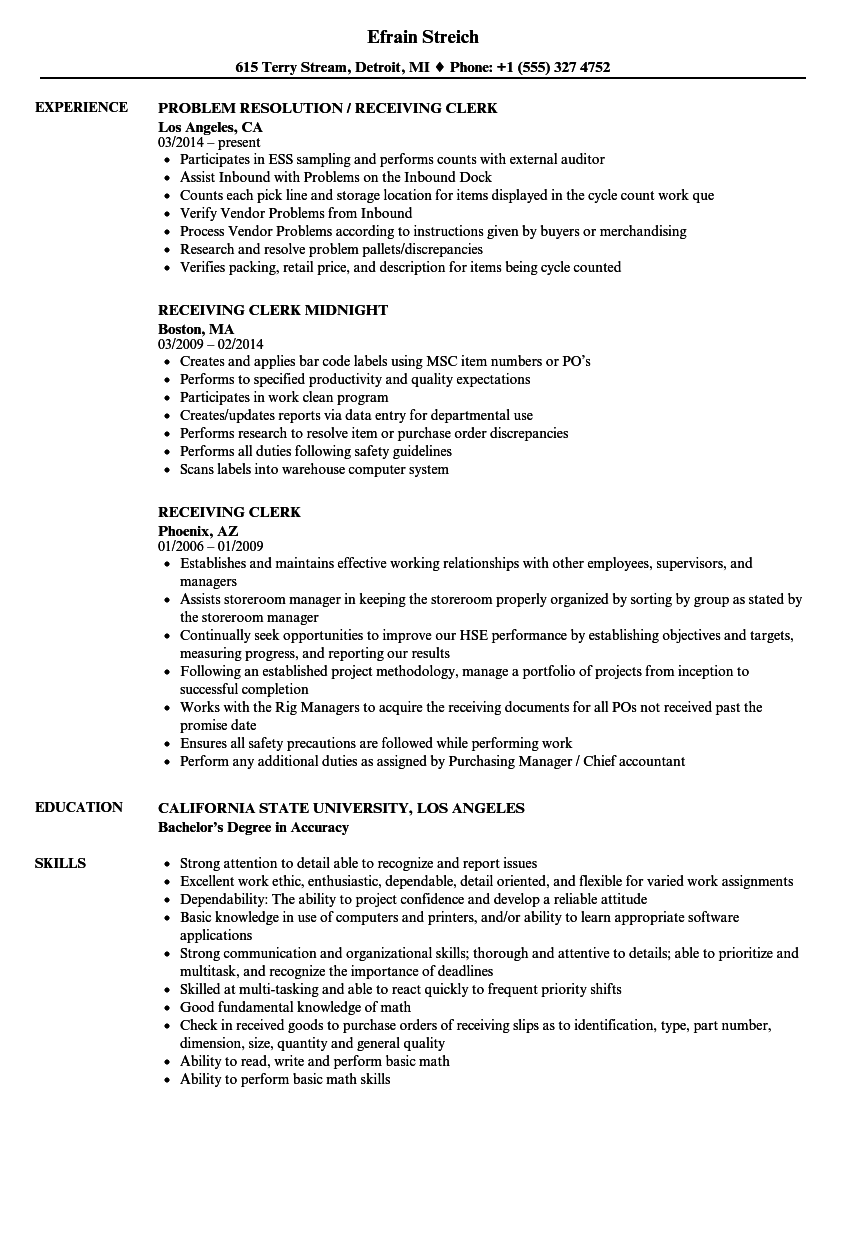 Receiving Clerk Resume Samples | Velvet Jobs