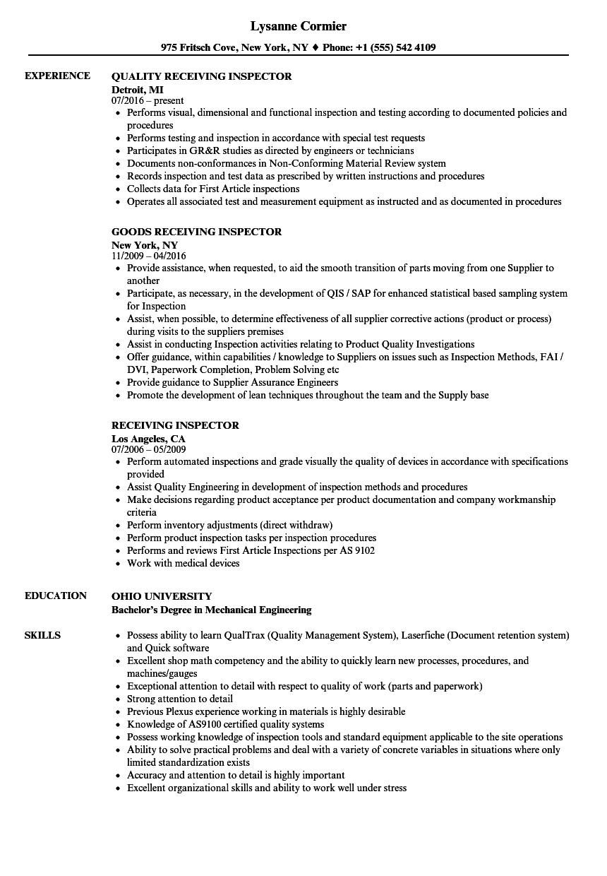 Receiving Inspector Resume Samples | Velvet Jobs