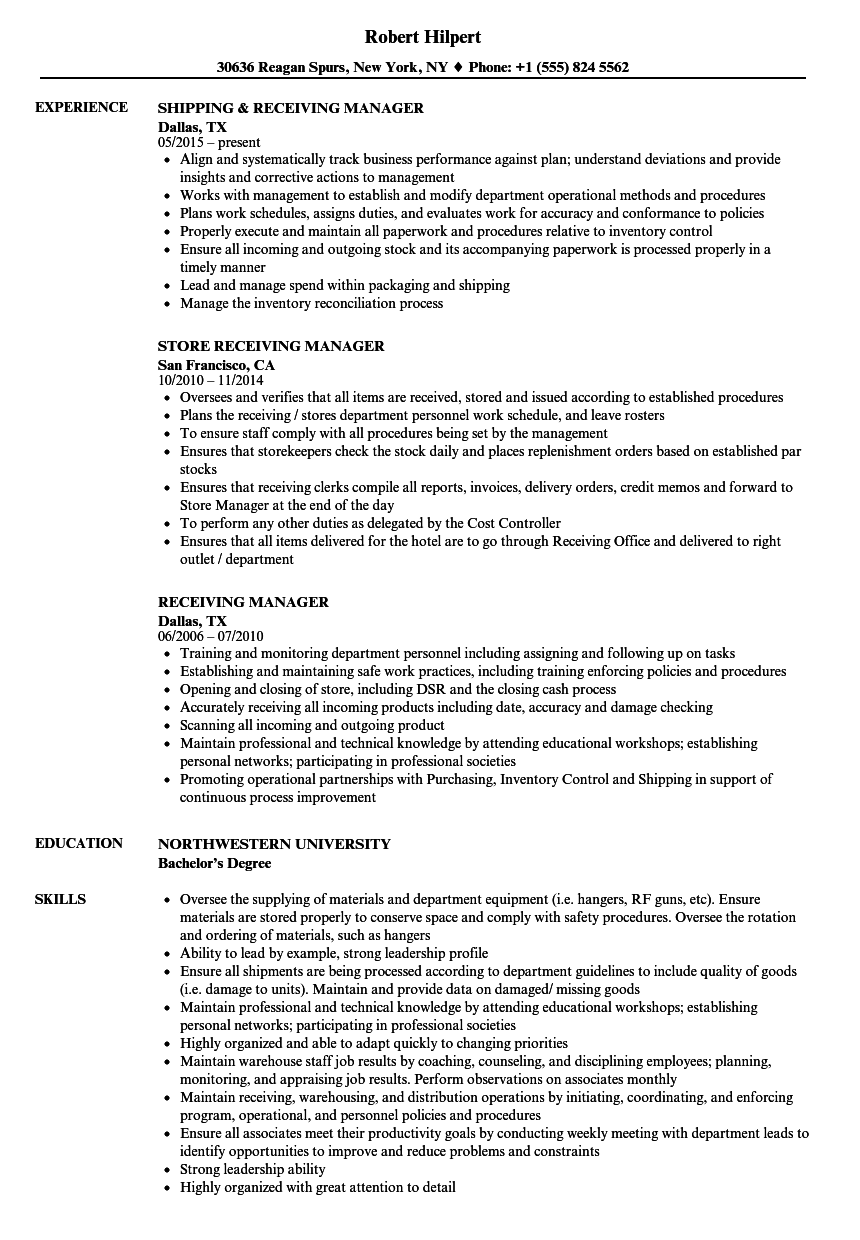 receiving manager resume samples velvet jobs