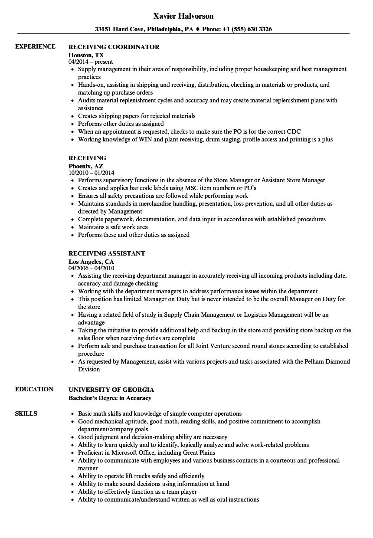Receiving Resume Samples Velvet Jobs