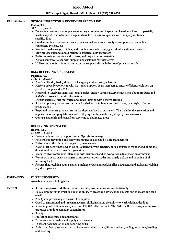 Receiving Specialist Resume Samples Velvet Jobs