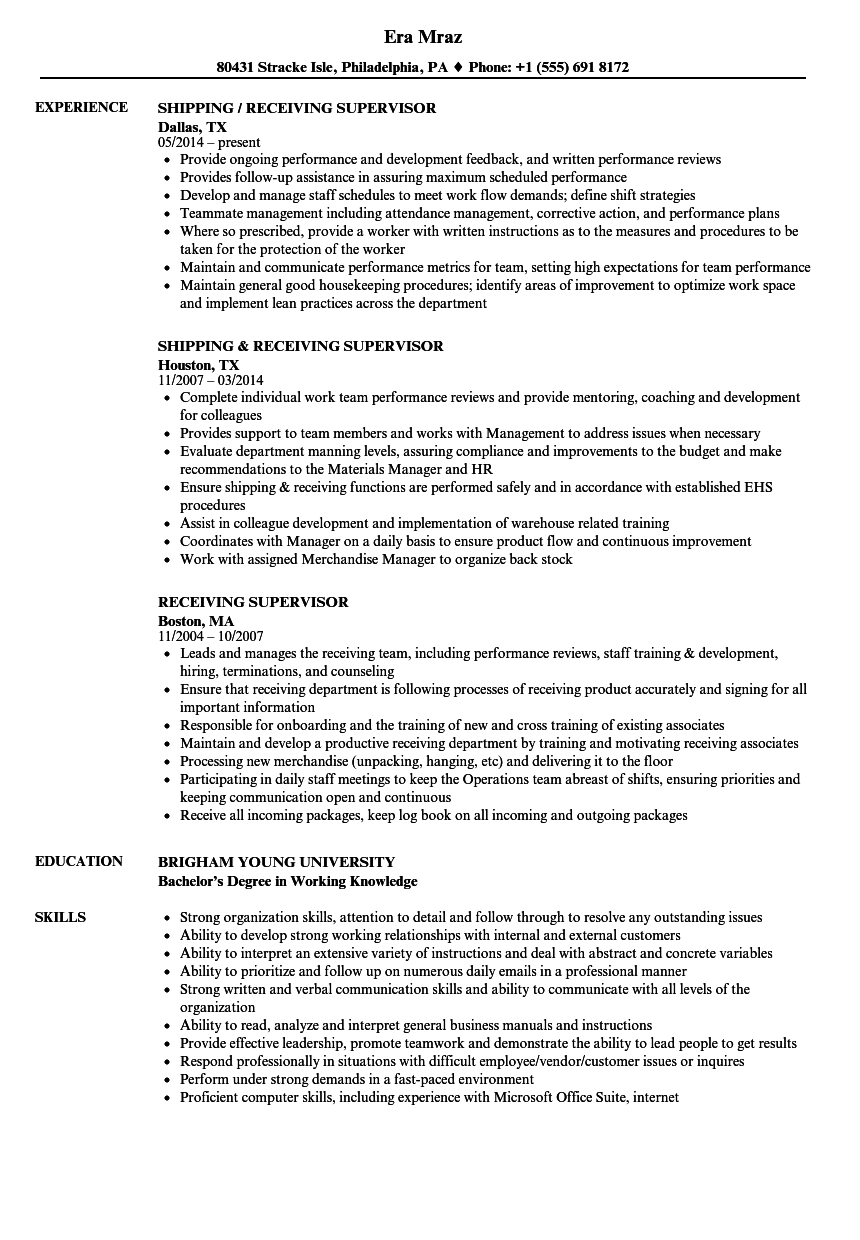 Download Receiving Supervisor Resume Sample As Image File