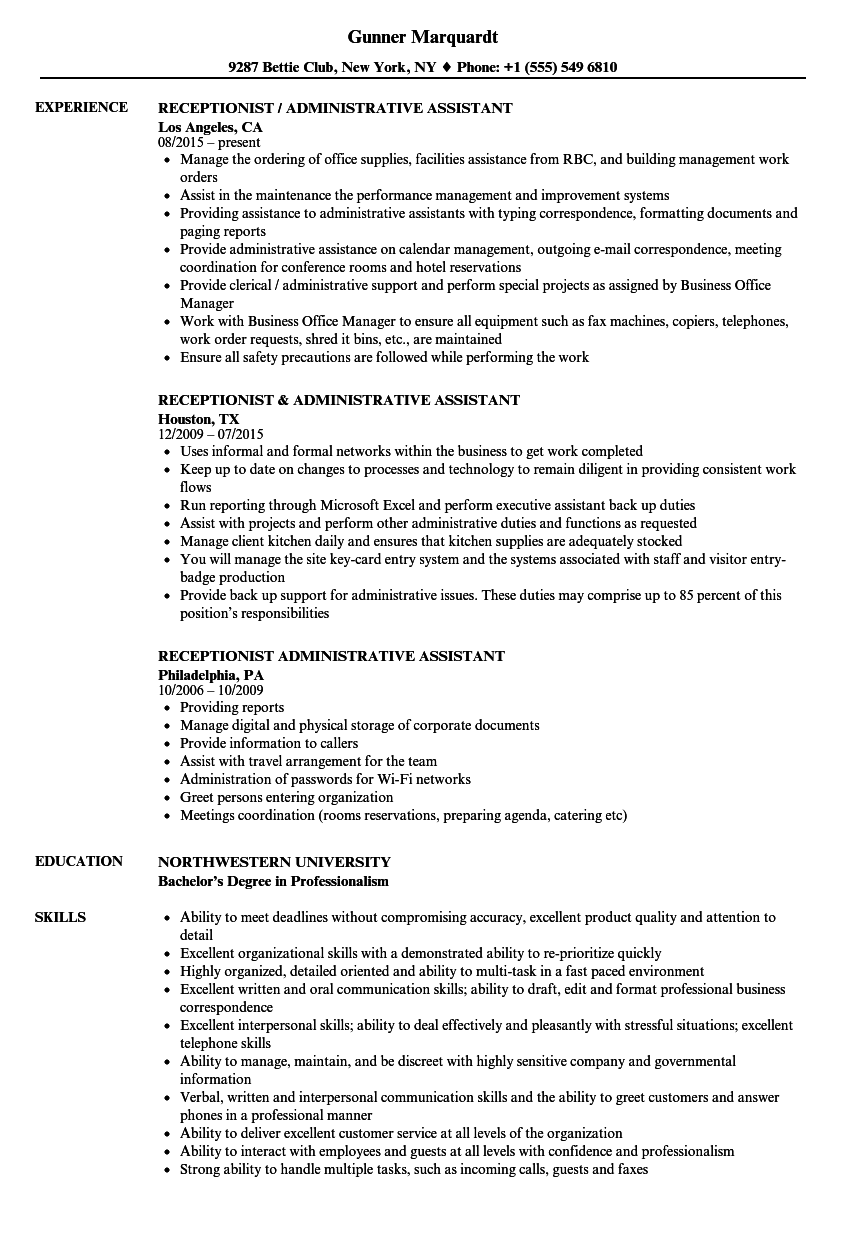 Receptionist  Administrative Assistant Resume Samples  Velvet Jobs