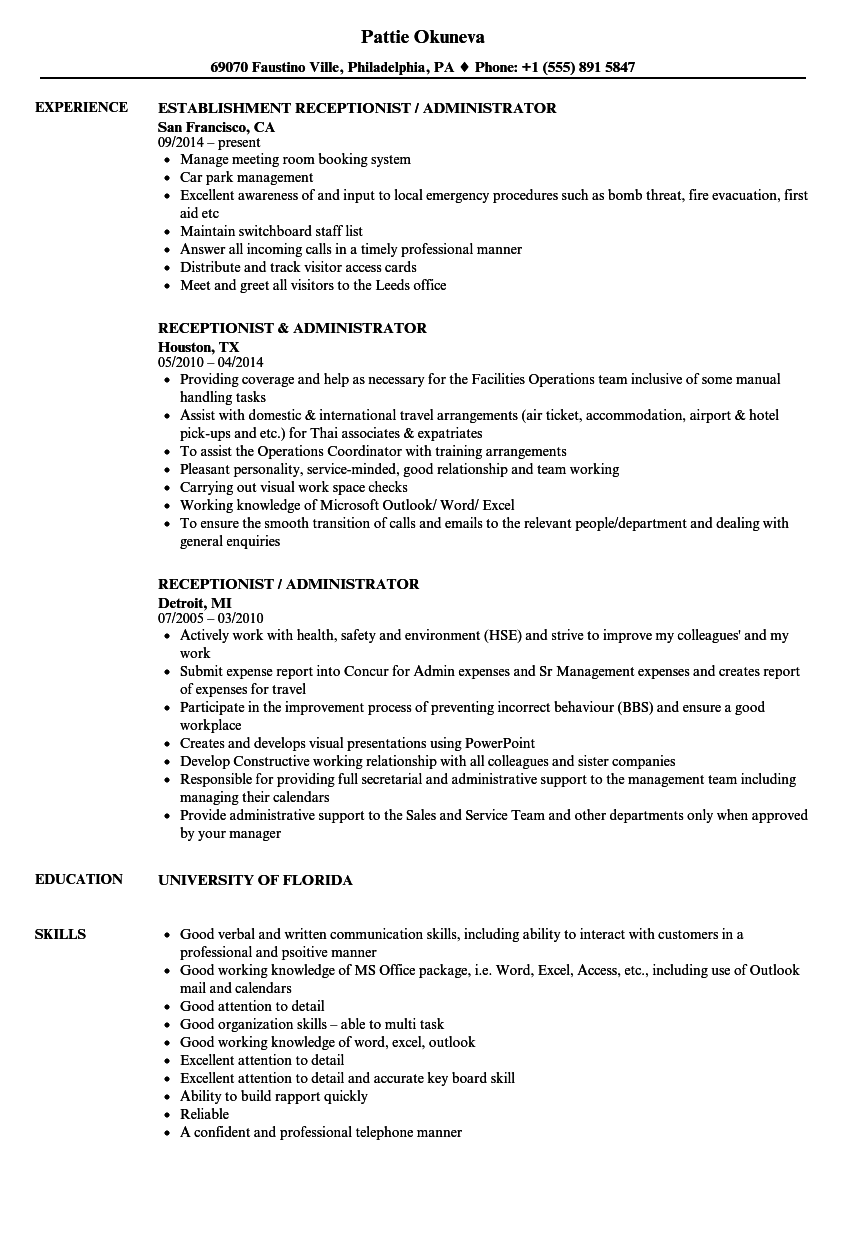 download receptionist administrator resume sample as image file
