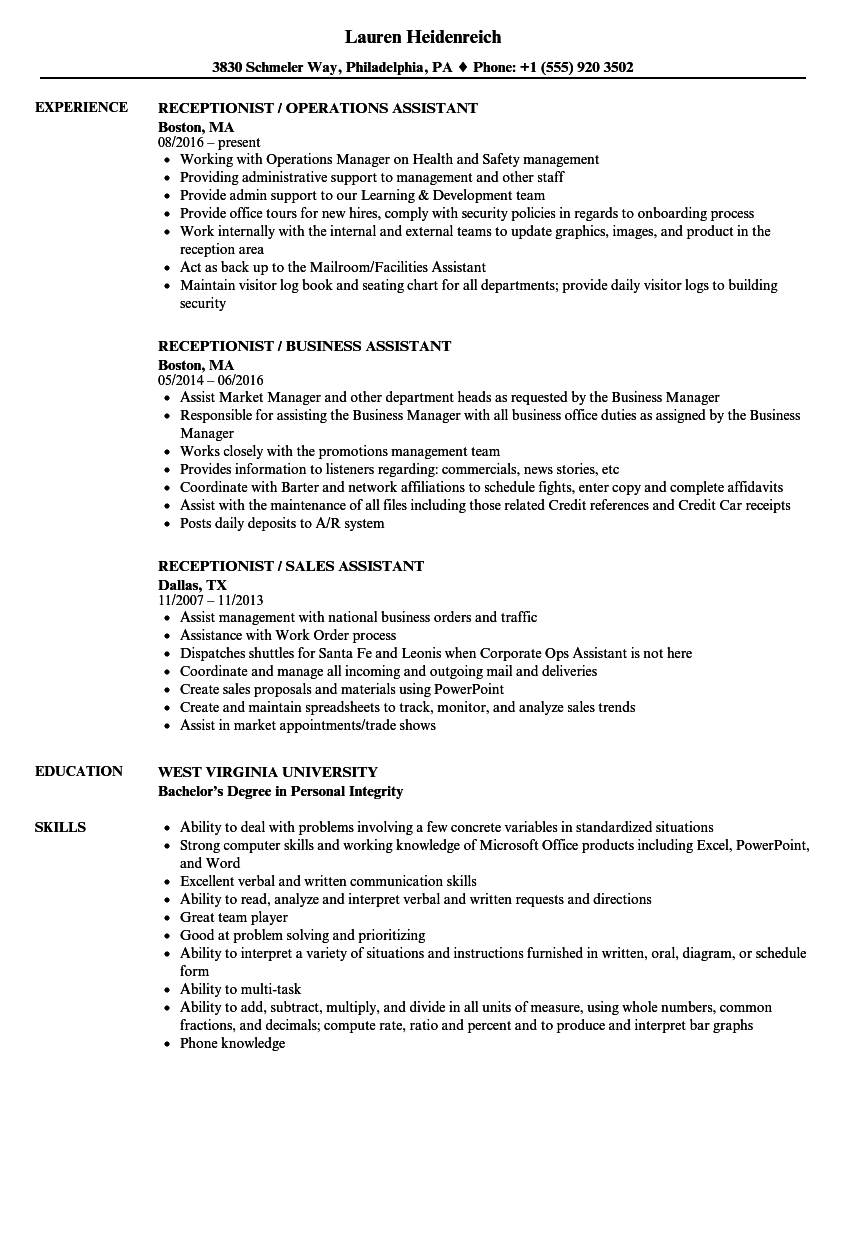 Receptionist & Assistant Resume Samples | Velvet Jobs