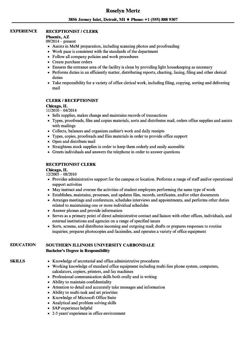 receptionist    clerk resume samples