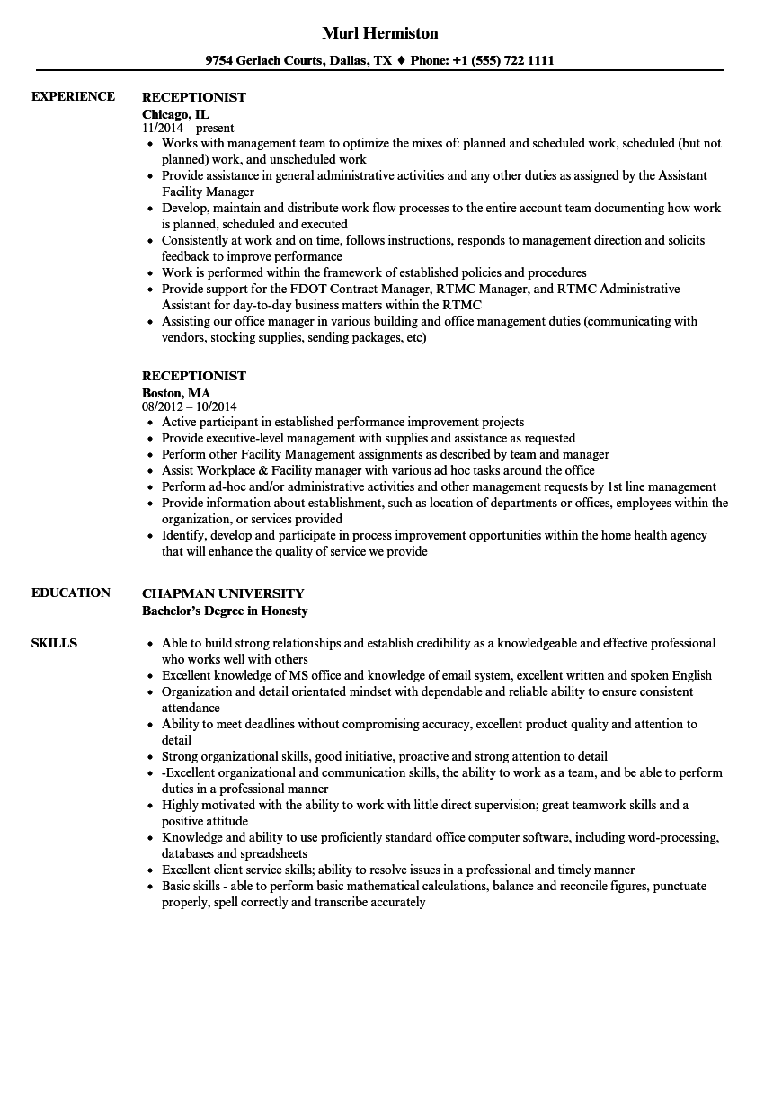 Download Receptionist Resume Sample As Image File