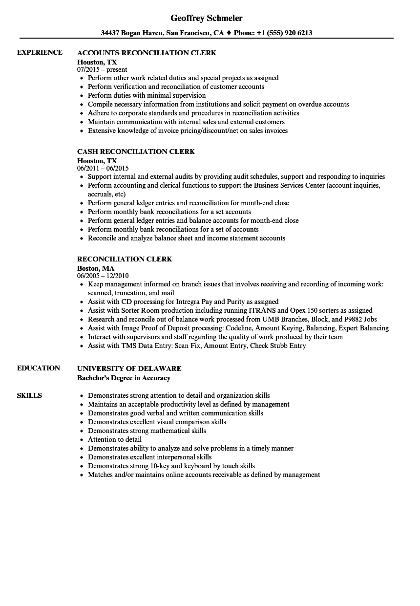 Reconciliation Clerk Resume Samples | Velvet Jobs