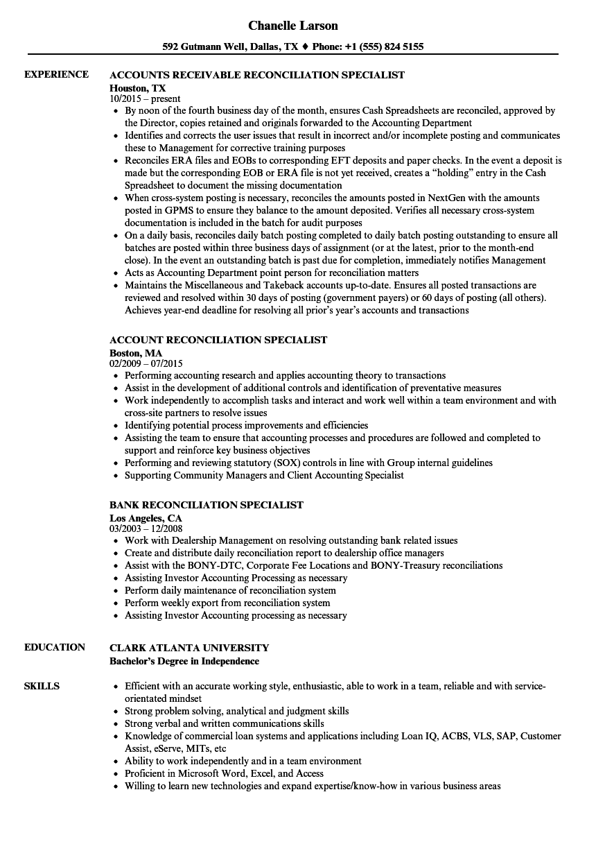 reconciliation specialist resume samples