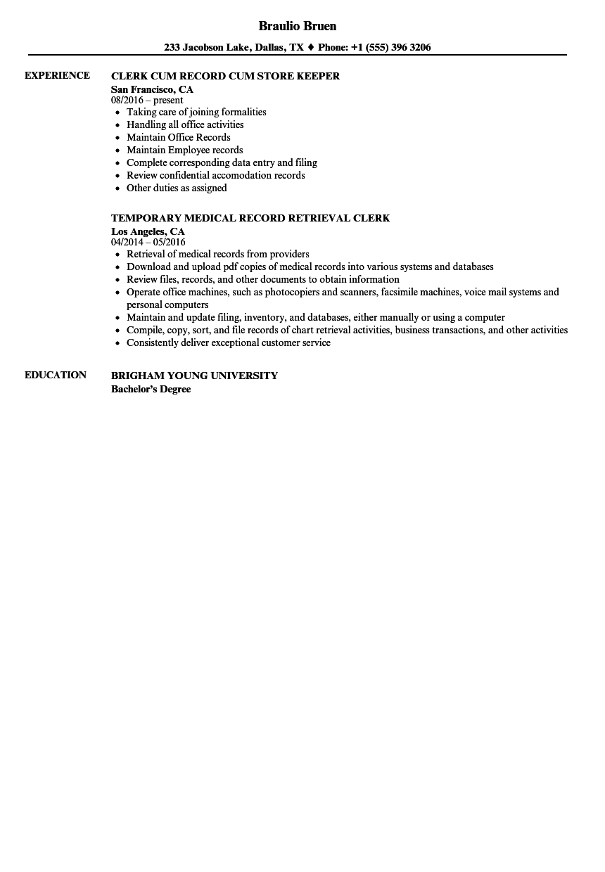 Record Clerk Resume Samples | Velvet Jobs