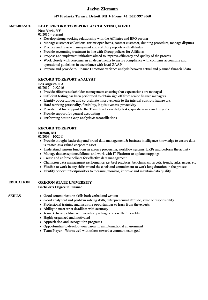 record resume samples