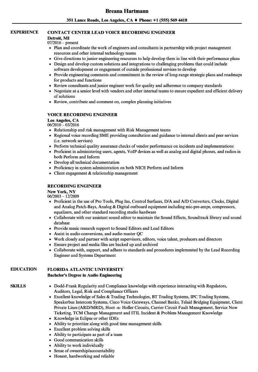 Download Recording Engineer Resume Sample As Image File  Audio Engineer Resume