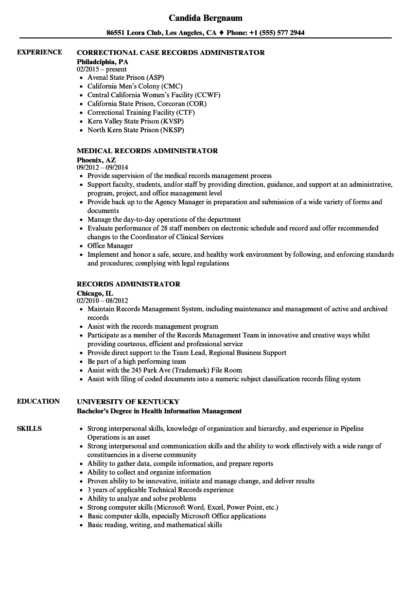 records administrator resume samples