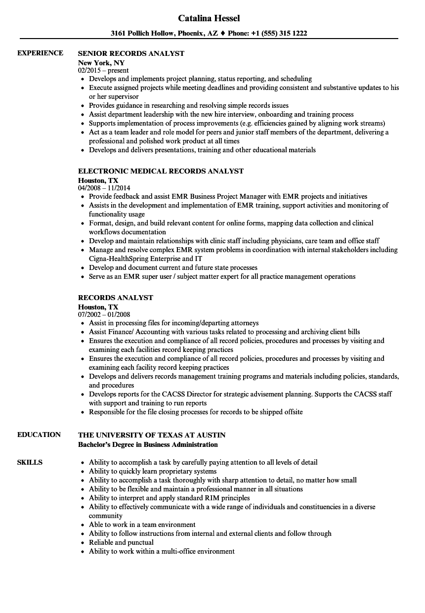 records analyst resume samples