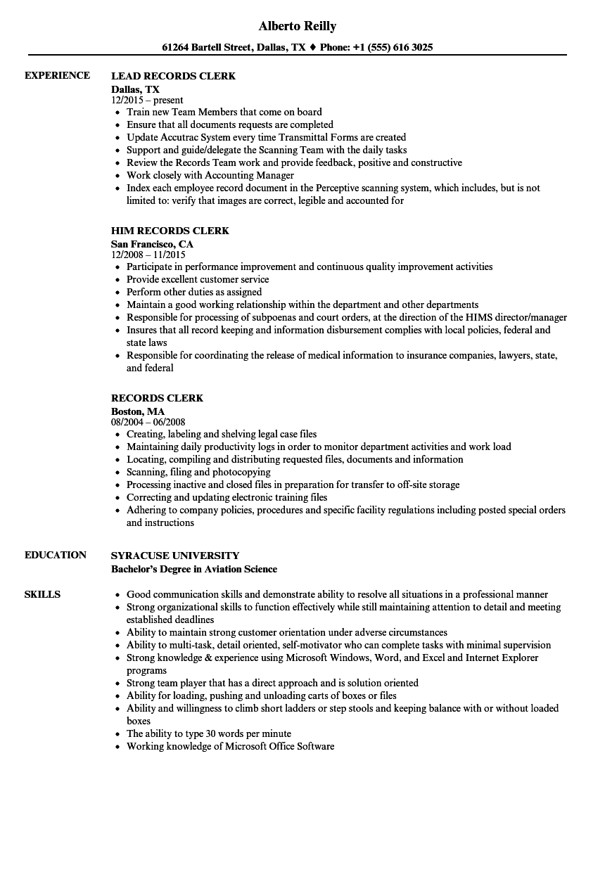 Download Records Clerk Resume Sample As Image File