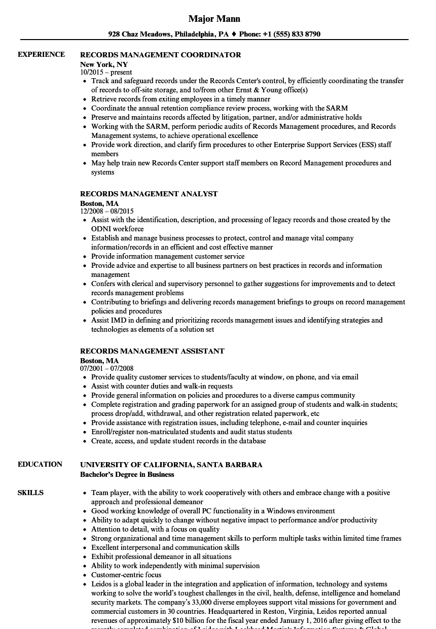 Records Management Resume Samples Velvet Jobs
