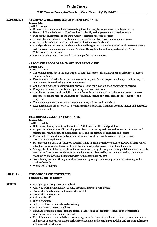 sample management specialist resume