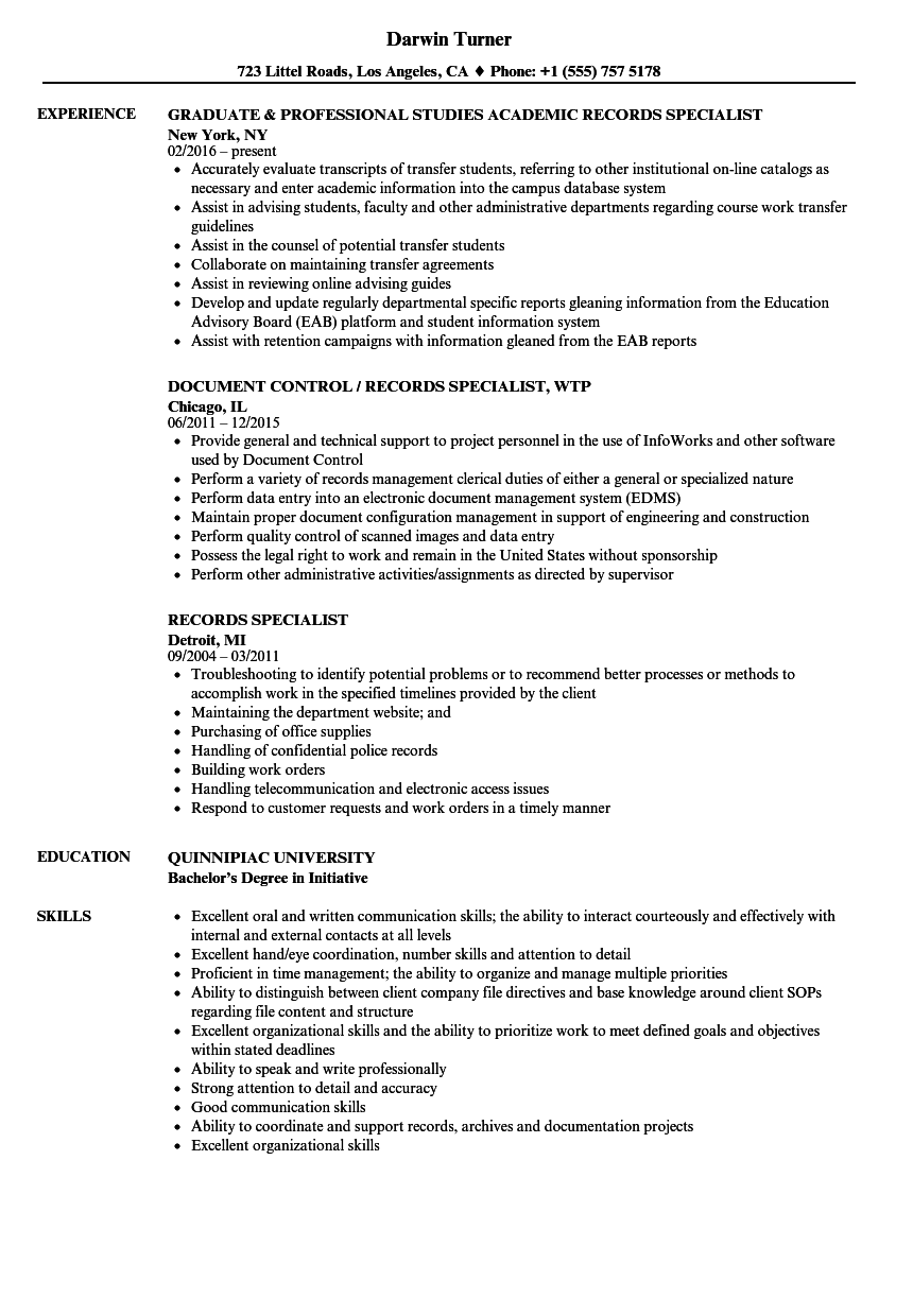 records specialist resume samples