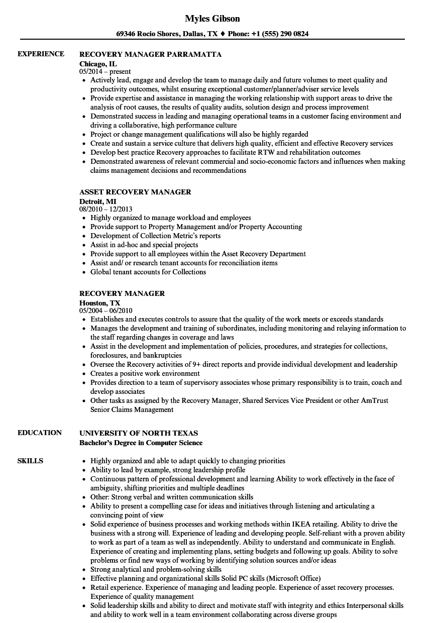 Recovery Manager Resume Samples Velvet Jobs