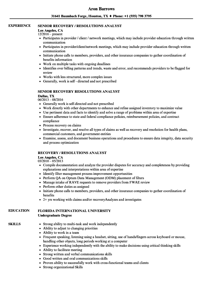 recovery    resolutions analyst resume samples