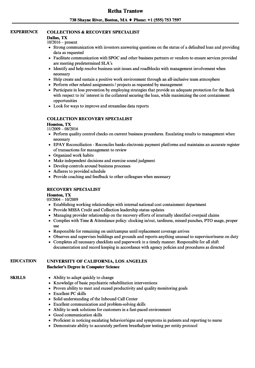 recovery specialist resume samples
