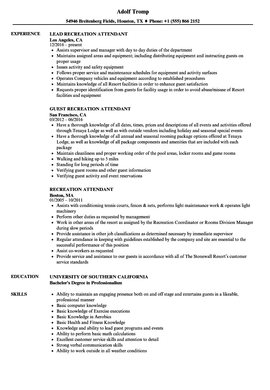recreation attendant resume samples
