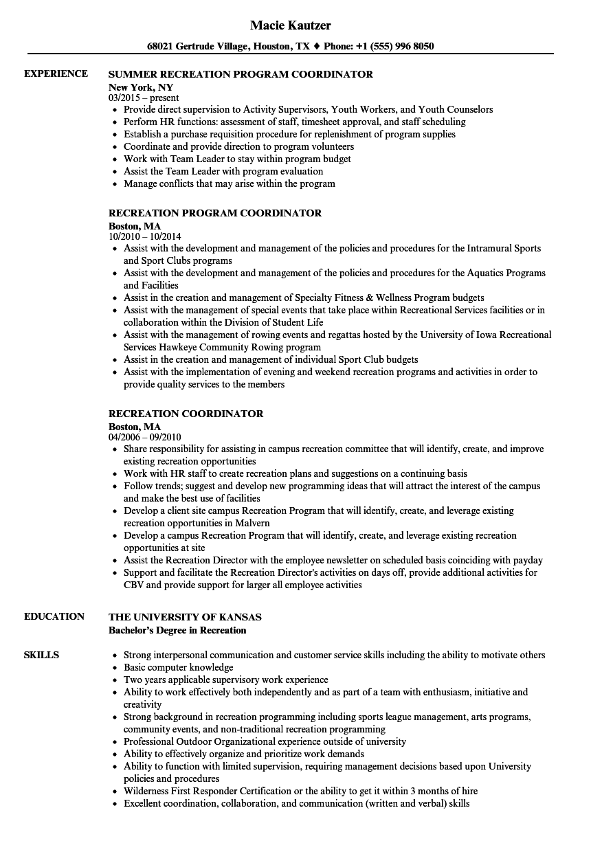 Recreation Coordinator Resume Samples Velvet Jobs