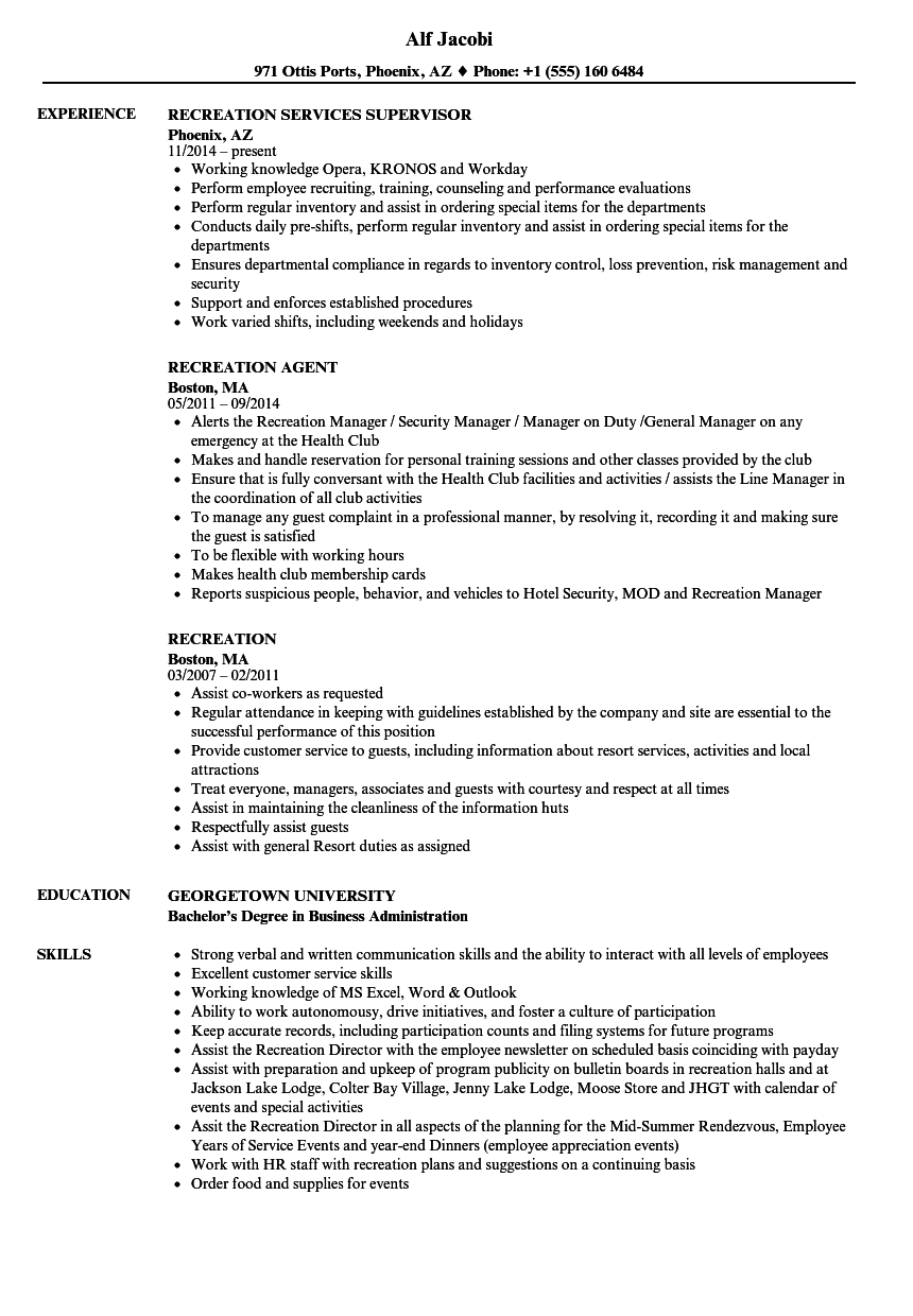 Recreation Resume Samples | Velvet Jobs
