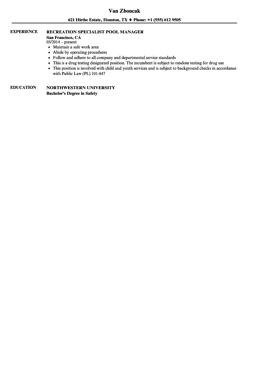 Download Recreation Specialist Resume Sample As Image File