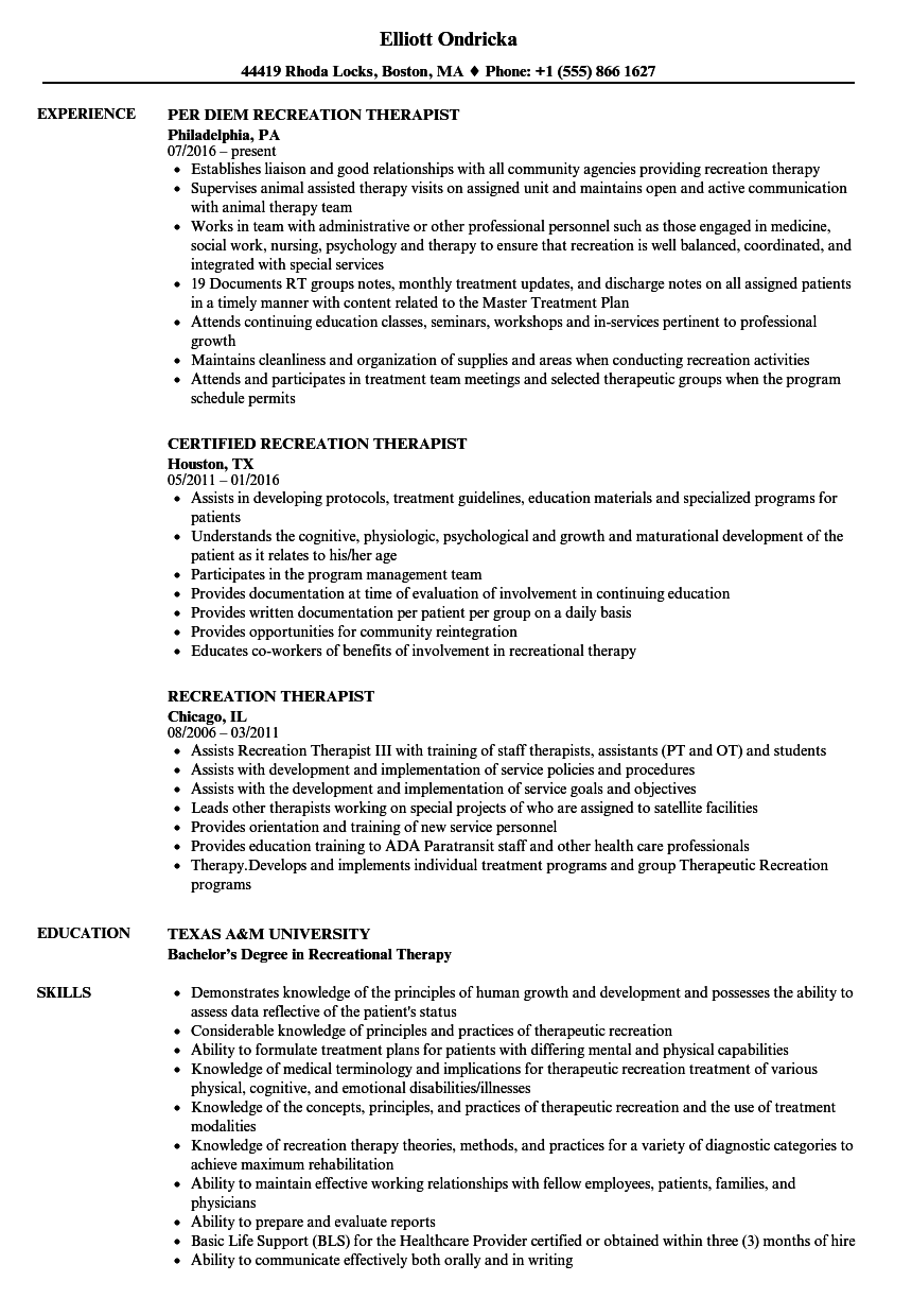 Recreation Therapist Resume Samples | Velvet Jobs