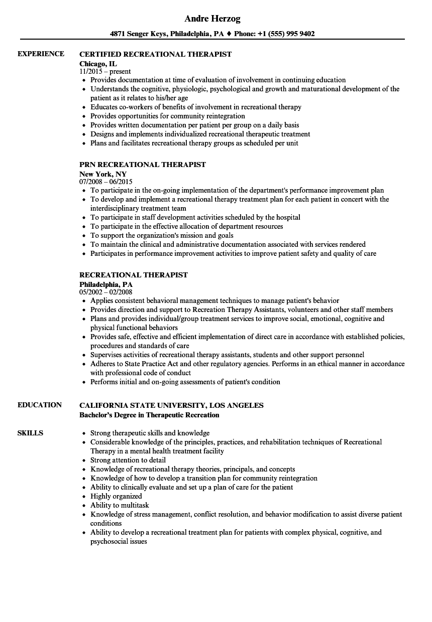 Recreational Therapist Resume Samples