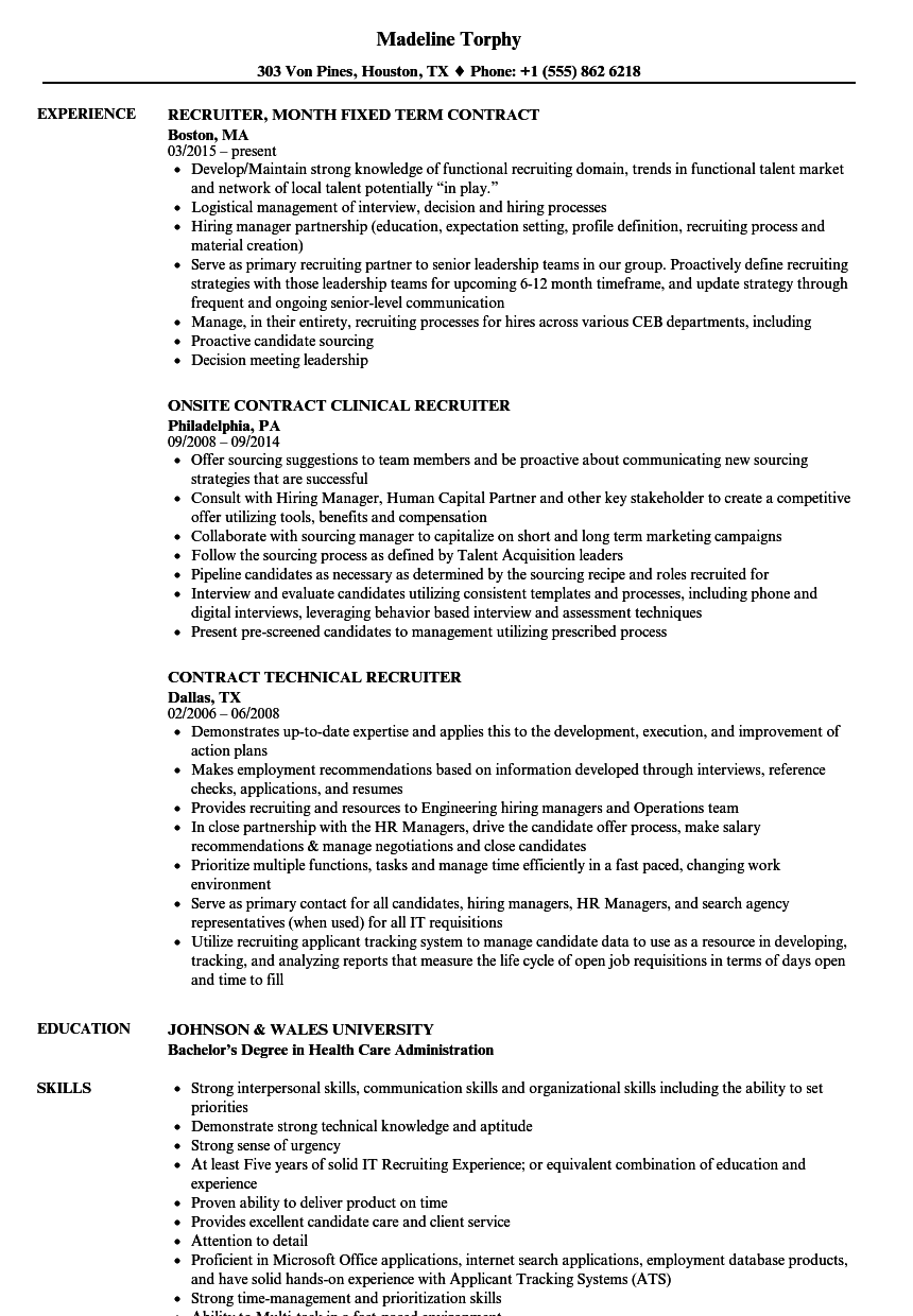 recruiter contract resume samples