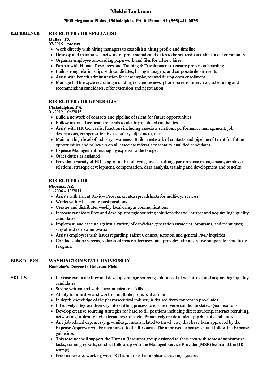 Fine Resume Format Of Hr Recruiter Ideas - Professional Resume ...