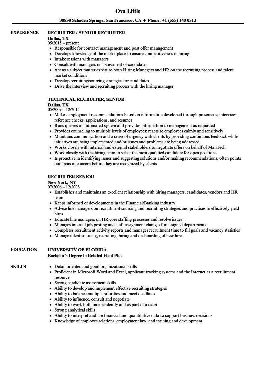 Recruiter Senior Resume Samples | Velvet Jobs