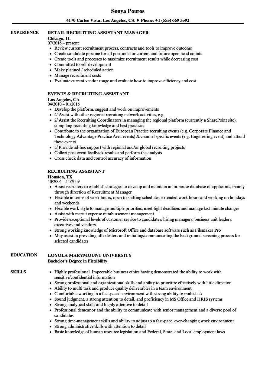 Recruiting Assistant Resume Samples | Velvet Jobs