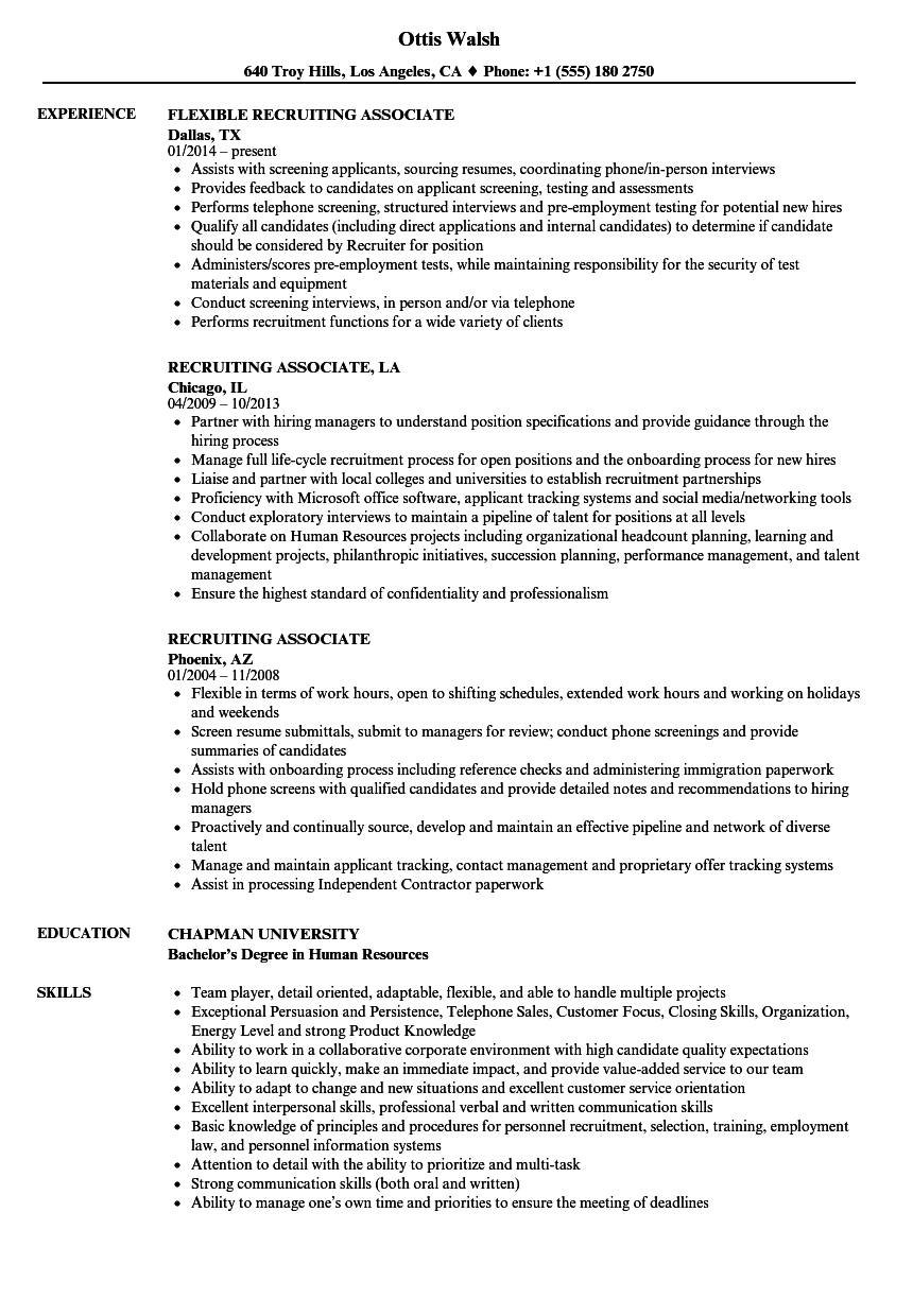 download recruiting associate resume sample as image file - Associate Recruiter Sample Resume