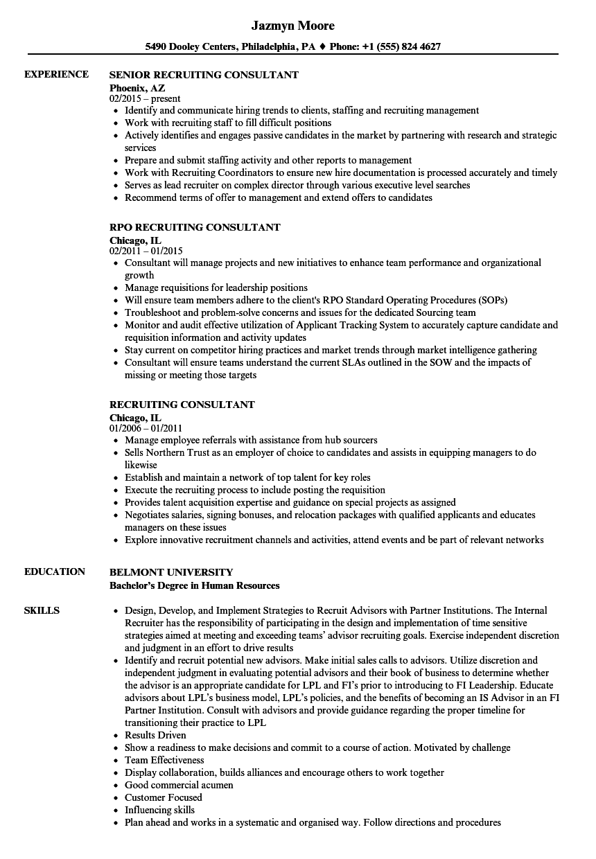 Recruiting Consultant Resume Samples   Velvet Jobs